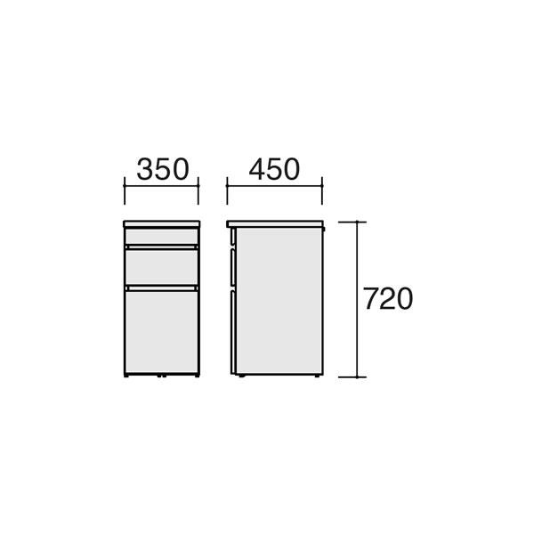 学習ワゴン lieuble リュブレ サイドチェスト 86NA3C-WG37 86NA3C-WG38 オカムラ